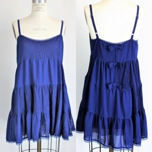 Kensie Blue babydoll Top or Dress, Small, Bows